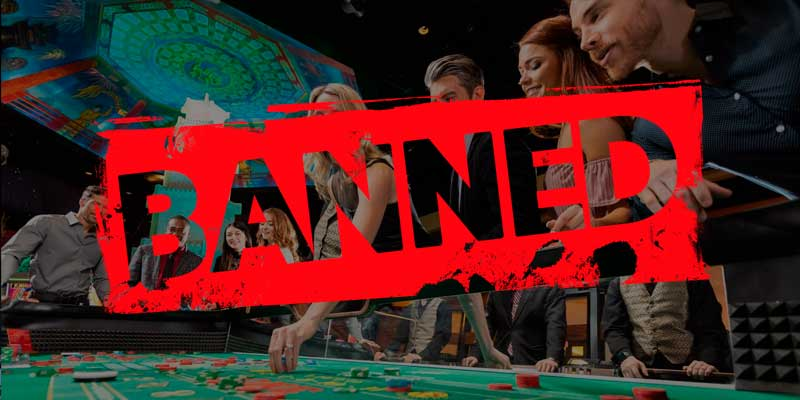 Banned banner on casino picture
